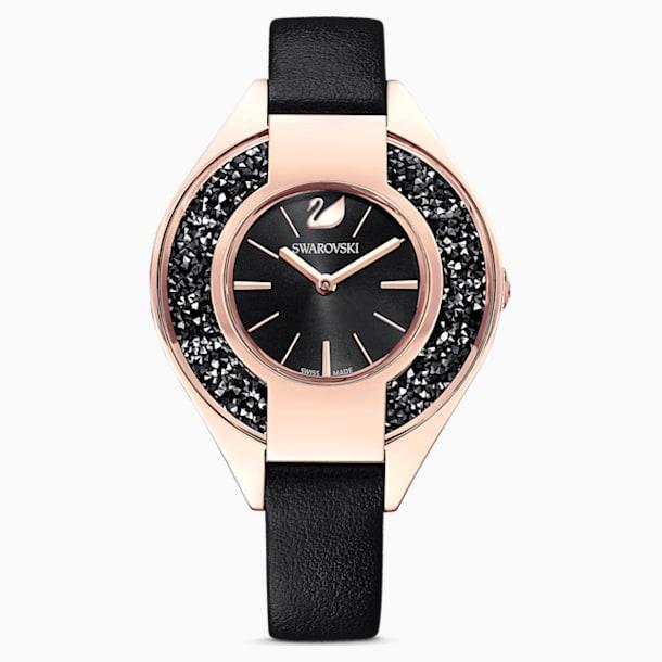 Montre Crystalline Sporty, bracelet en cuir, noir, PVD doré rose - Swarovski, 5547632