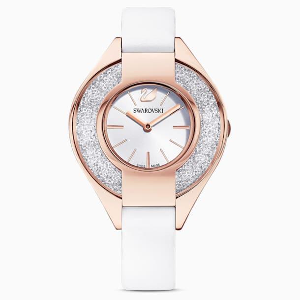 Ρολόι Crystalline Sporty, δερμάτινο λουράκι, λευκό, PVD σε χρυσή ροζ απόχρωση - Swarovski, 5547635
