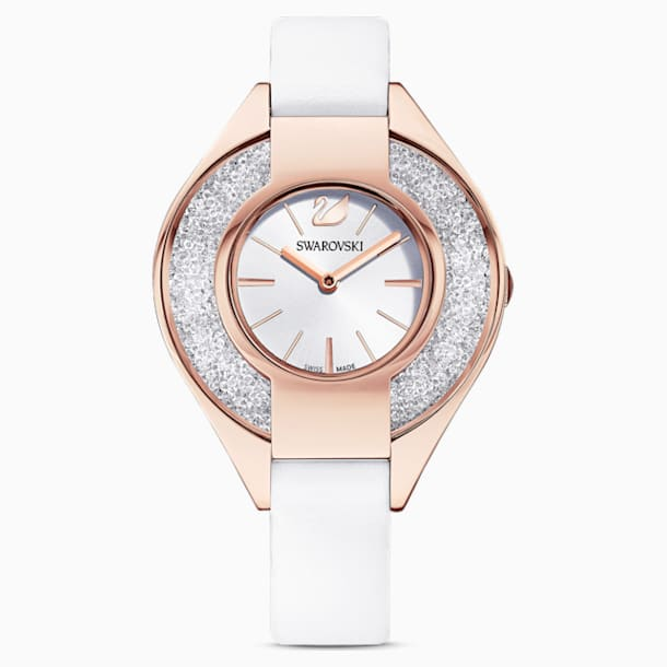 Crystalline Sporty Watch, Leather strap, White, Rose-gold tone PVD - Swarovski, 5547635