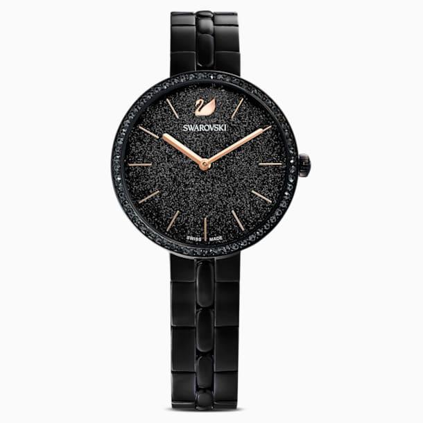 Ρολόι Cosmopolitan, μεταλλικό μπρασελέ, μαύρο, μαύρο PVD - Swarovski, 5547646