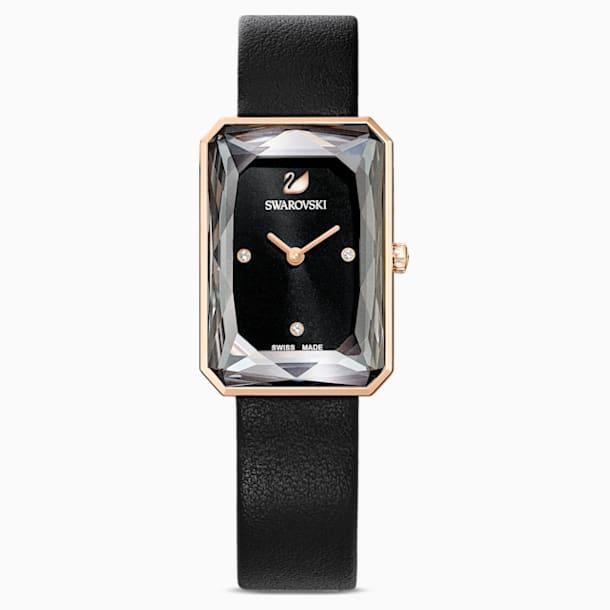 Montre Uptown, bracelet en cuir, noir, PVD doré rose - Swarovski, 5547710
