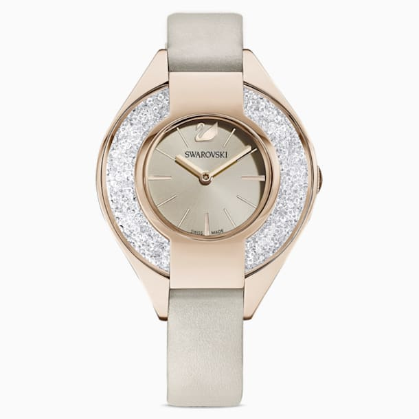 Crystalline Sporty Watch, Leather strap, Gray, Champagne-gold tone PVD - Swarovski, 5547976