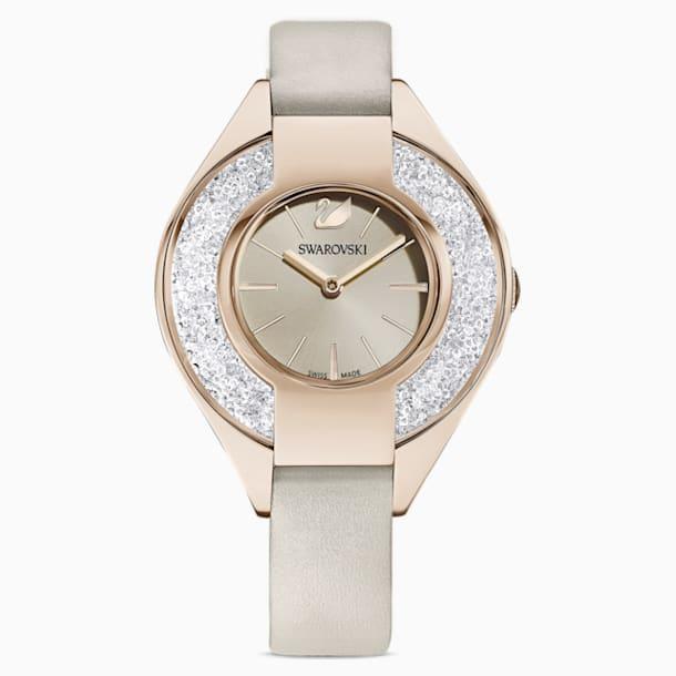 Zegarek Crystalline Sporty, pasek ze skóry, szary, powłoka PVD w odcieniu szampańskiego złota - Swarovski, 5547976