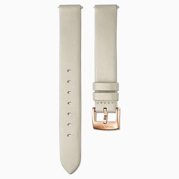 14mm pásek k hodinkám, kožený, tmavošedá barva, PVD v odstínu růžového zlata - Swarovski, 5548142
