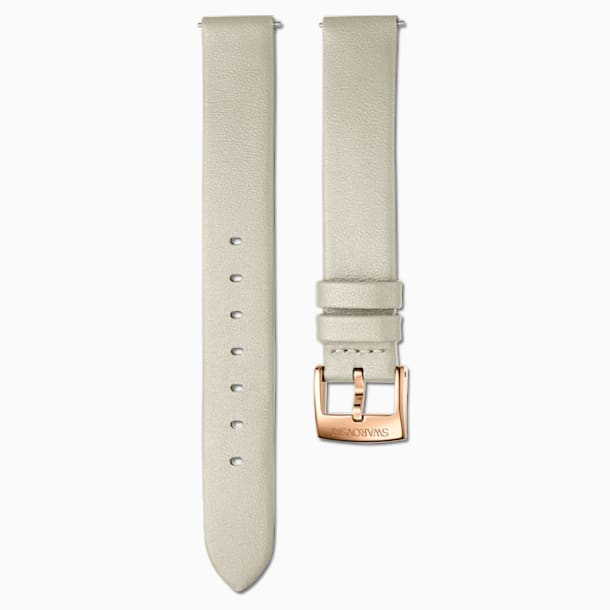 14mm Watch strap, Leather, Taupe, Rose-gold tone PVD - Swarovski, 5548142