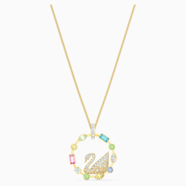Rainbow Swan Necklace, Gold-tone plated - Swarovski, 5549050