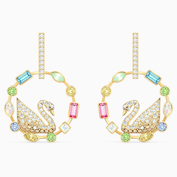 Rainbow Swan Hoop Pierced Earrings, Multicolored, Gold-tone plated - Swarovski, 5549051