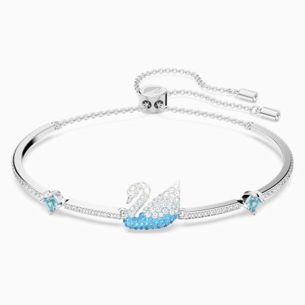 Iconic Swan Bangle, Blue, Rhodium plated - Swarovski, 5549312