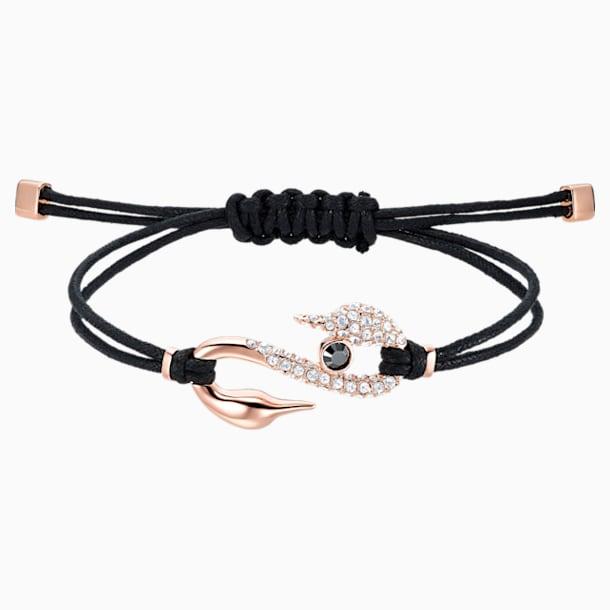 Swarovski Power Collection Hook Bileklik, Siyah, Pembe altın rengi kaplama - Swarovski, 5551812