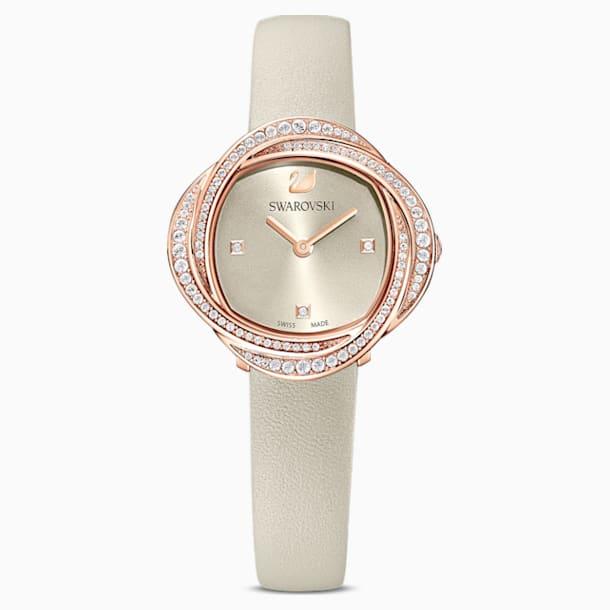 Montre Crystal Flower, bracelet en cuir, gris, PVD doré rose - Swarovski, 5552424
