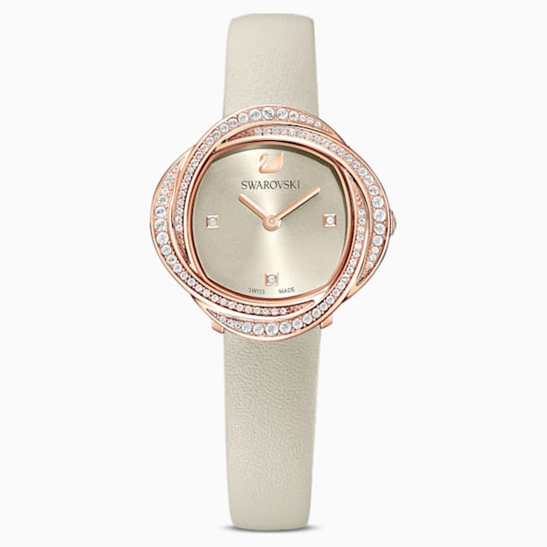 Crystal Flower Watch, Leather strap, Gray, Rose-gold tone PVD - Swarovski, 5552424