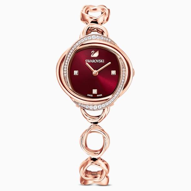 Ρολόι Crystal Flower, μεταλλικό μπρασελέ, κόκκινο, PVD σε χρυσή-ροζ απόχρωση - Swarovski, 5552783