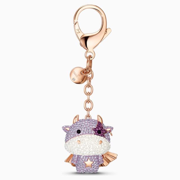 Zodiac Cow Accesoriu tip talisman pentru geantă, violet, placat în nuanță aur roz - Swarovski, 5552795