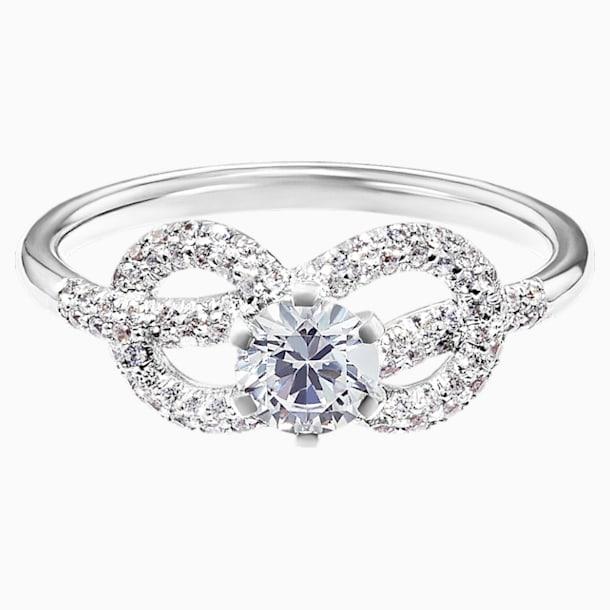 Knot of True Love Savoy Pavé Ring 0.5ct, Swarovski Created Diamonds, 18K White Gold, Size 52 - Swarovski, 5553904