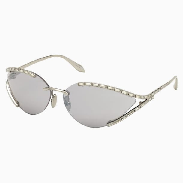 Fluid Cat-Eye Sunglasses, SK0273-P, Silver tone - Swarovski, 5554995