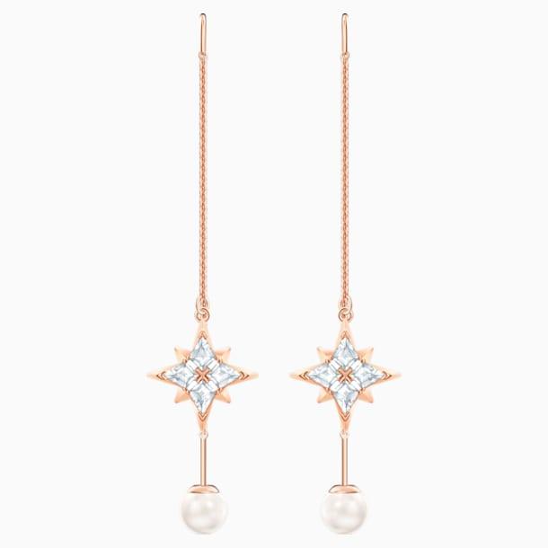 Brincos para orelhas furadas Swarovski Symbolic Chain, brancos, banhados com tom rosa dourado - Swarovski, 5555432