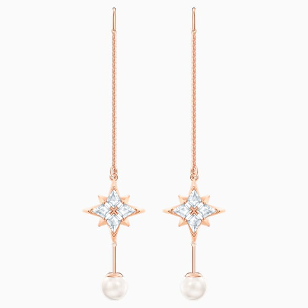스와로브스키 Swarovski Symbolic Chain Pierced Earrings, White, Rose-gold tone plated