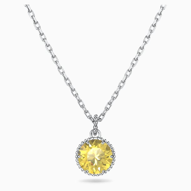 Birthstone Pendant, November, Yellow, Rhodium plated - Swarovski, 5555791