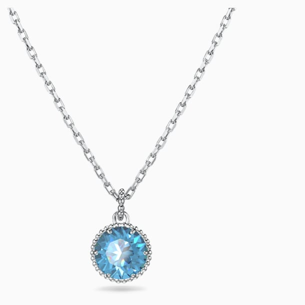 Birthstone Pendant, December, Blue, Rhodium plated - Swarovski, 5555792