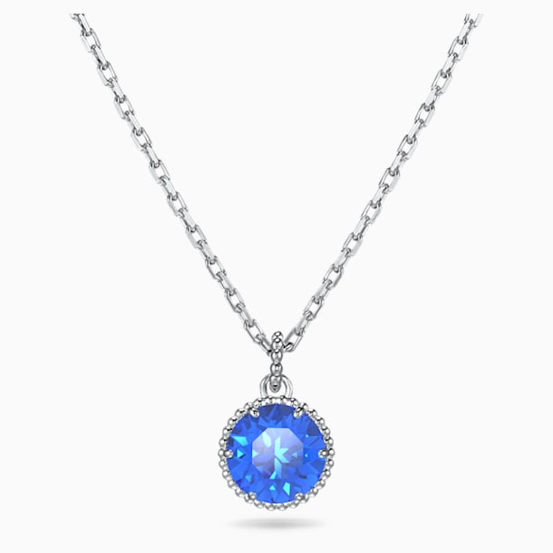 Birthstone Pendant, September, Blue, Rhodium plated - Swarovski, 5555793