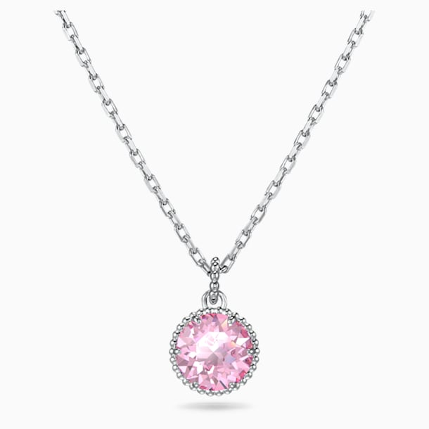 Přívěsek Měsíční kámen, říjen, růžový, rhodiovaný - Swarovski, 5555794