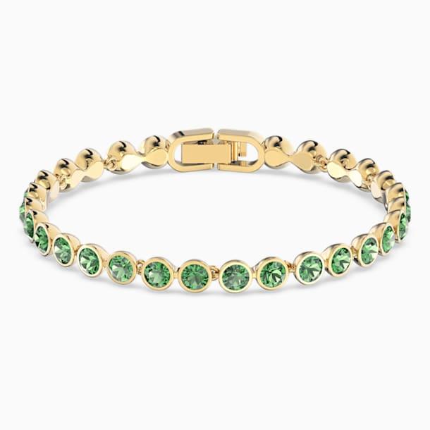 Tennis Armband, grün, vergoldet - Swarovski, 5555824