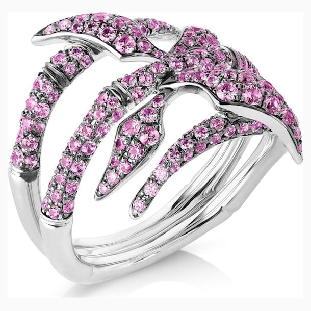 Bamboo Shoots Ring, Pink Swarovski Created Sapphires, 18K White Gold, Size 58 - Swarovski, 5555894
