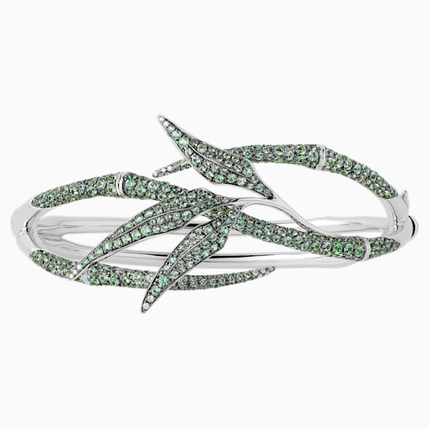 Bamboo Shoots Cuff Bracelet, Green Swarovski Created Sapphires, 18K White Gold - Swarovski, 5555895