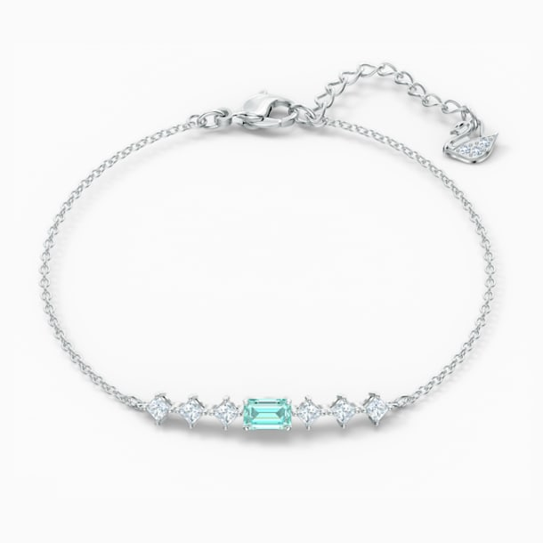 Attract Rectangular Bracelet, Green, Rhodium plated - Swarovski, 5556732