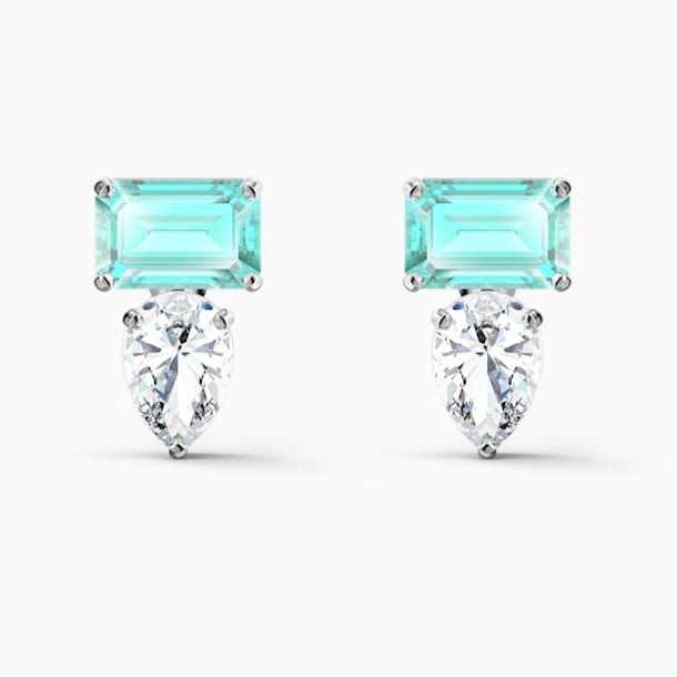 Attract Rectangular Pierced Earrings, Green, Rhodium plated - Swarovski, 5556733