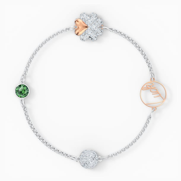 Swarovski Remix Collection Clover Strand, Green, Mixed metal finish - Swarovski, 5556901