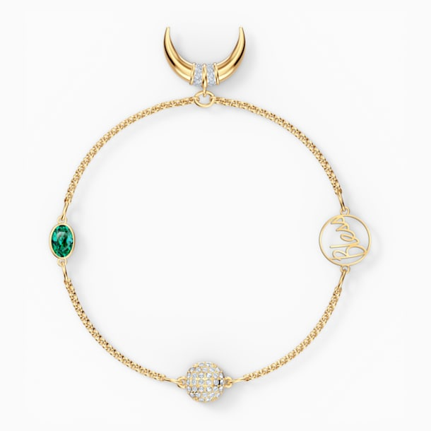 Swarovski Remix Collection Horn Strand, Зеленый Кристалл, Покрытие оттенка золота - Swarovski, 5556903
