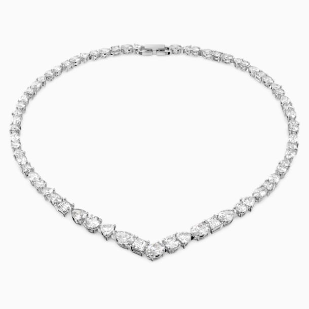 Tennis Deluxe Mixed V Necklace, White, Rhodium plated - Swarovski, 5556917