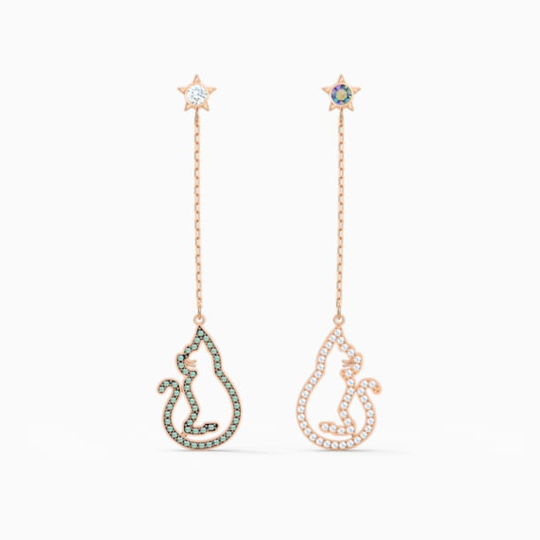 Cattitude Pierced Earrings, Green, Rose-gold tone plated - Swarovski, 5558174