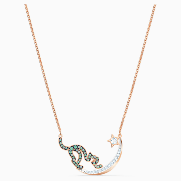 Cattitude Necklace, Green, Mixed metal finish - Swarovski, 5558175