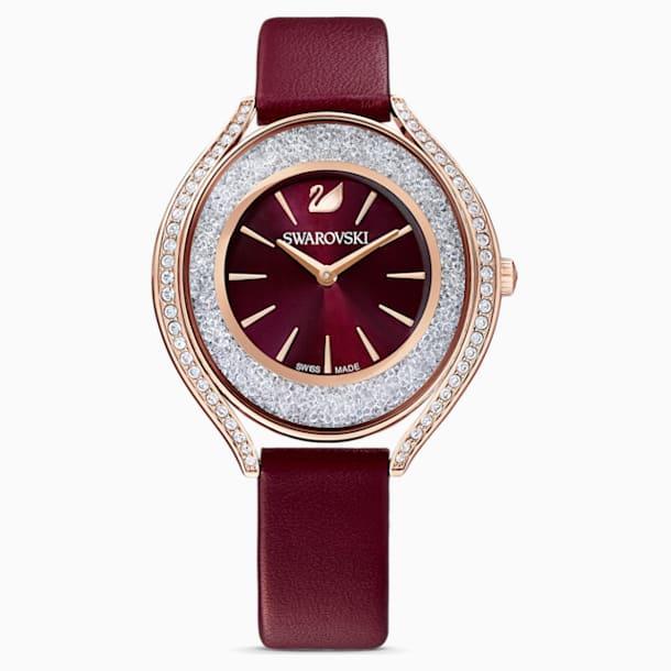 Crystalline Aura Watch, Leather strap, Red, Rose-gold tone PVD - Swarovski, 5558637