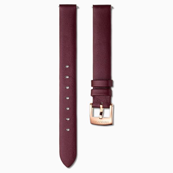 14mm pásek k hodinkám, kožený, vínový, pozlaceno růžovým zlatem - Swarovski, 5559052