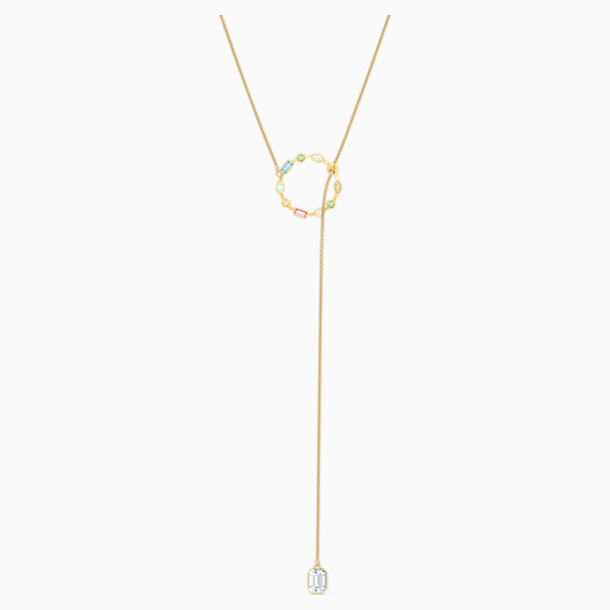 Rainbow Swan Y Necklace, Multicolored, Gold-tone plated - Swarovski, 5559300