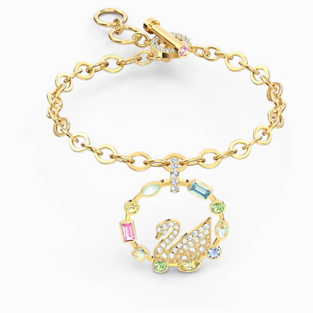 Rainbow Swan Bracelet, Multicolored, Gold-tone plated - Swarovski, 5559304