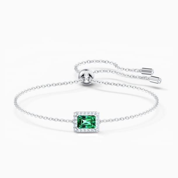 Angelic négyszögletes karkötő, zöld, ródium bevonattal - Swarovski, 5559836