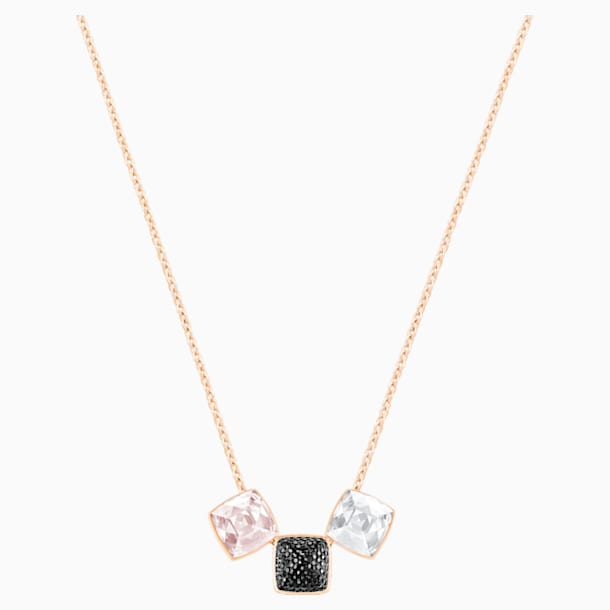 Glance Necklace, Light multi-colored, Rose-gold tone plated - Swarovski, 5559862
