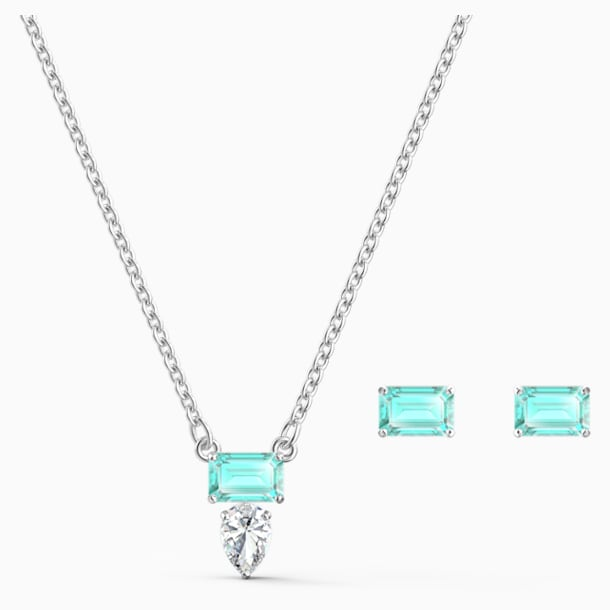 Set Attract Rectangular, verde, placcato rodio - Swarovski, 5560556