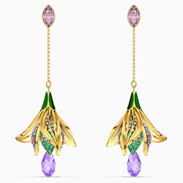 Togetherness Pierced Earrings, Multicolored, Gold-tone plated - Swarovski, 5561604