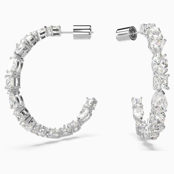 Τρυπητά σκουλαρίκια κρίκοι Tennis Deluxe Mixed, λευκά, επιροδιωμένα - Swarovski, 5562128