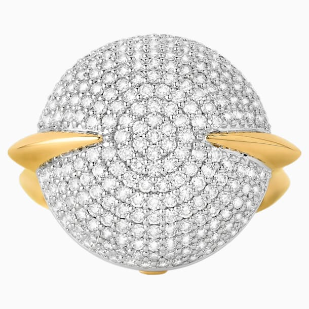 Light Is Life Round Ring, Swarovski Created Diamonds, 18K Yellow Gold, 18K White Gold, Size 52 - Swarovski, 5562656
