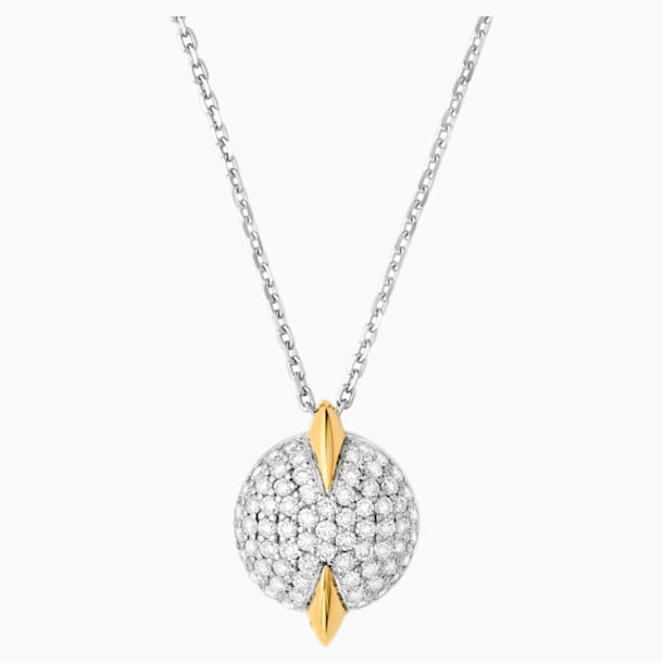 Light Is Life Single Round Pendant, Swarovski Created Diamonds, 18K Yellow Gold, 18K White Gold - Swarovski, 5562673