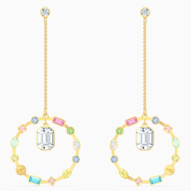 Rainbow Swan Chain Pierced Earrings, Gold-tone plated - Swarovski, 5562897
