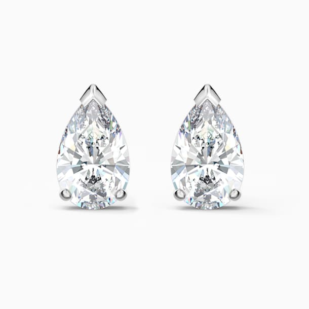 Attract Pear Stud Pierced Earrings, White, Rhodium plated - Swarovski, 5563121