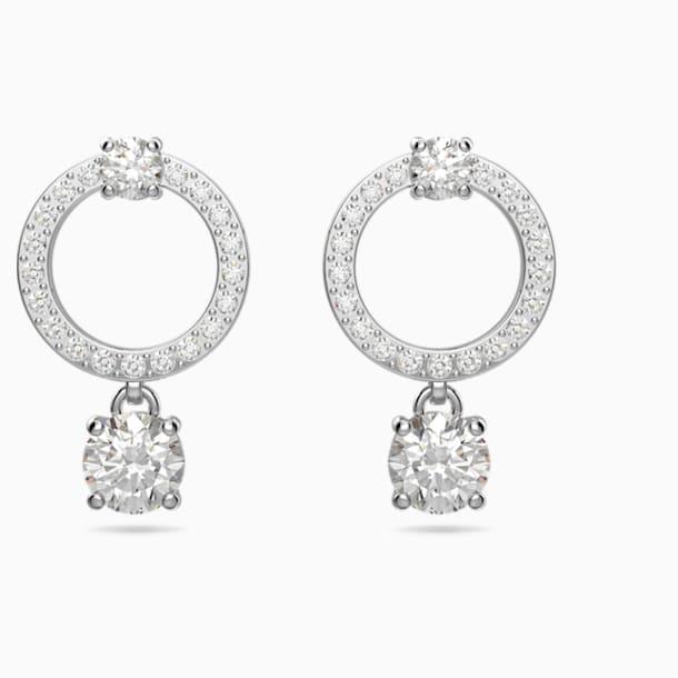 Attract Circle Pierced Earrings, White, Rhodium plated - Swarovski, 5563278