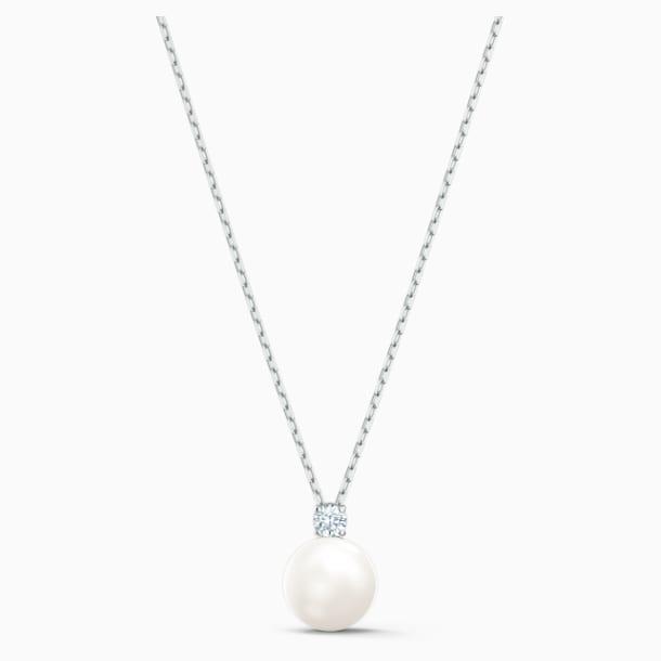 Náhrdelník s perlou Treasure, bílý, rhodiovaný - Swarovski, 5563288